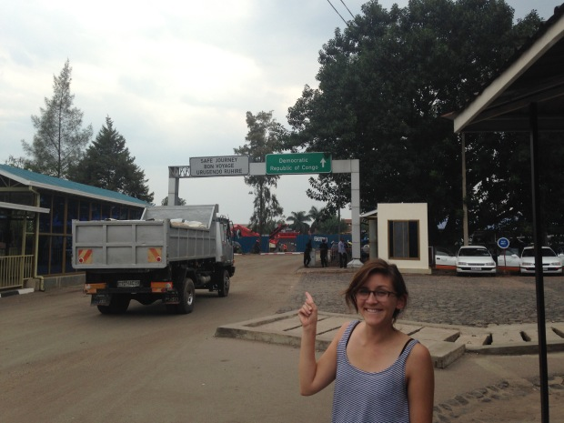 Crossing the border from Rwanda to the DRC.